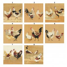 """X 8 cartes carrées """"Poules"""""""